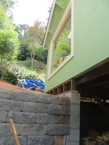 another view of the cripple wall and cinder block foundation (and look at how high that stone wall is now!)