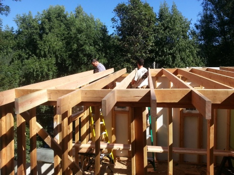 roof joists are up for our laundry room!