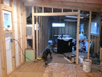 a view of the whole space from the laundry room- all walled in!