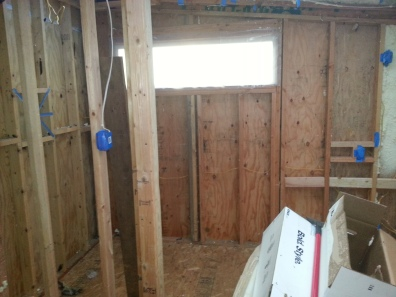 most of the bathroom still needed insulation