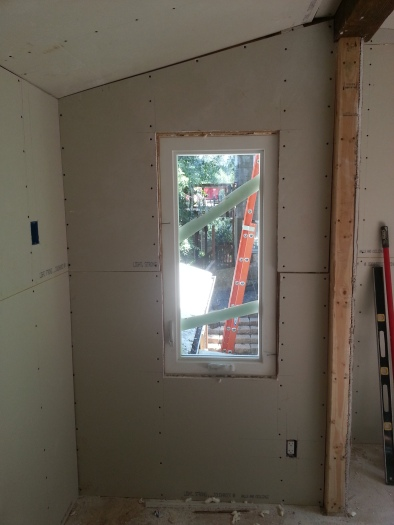 the new installed window and drywall to accompany it!