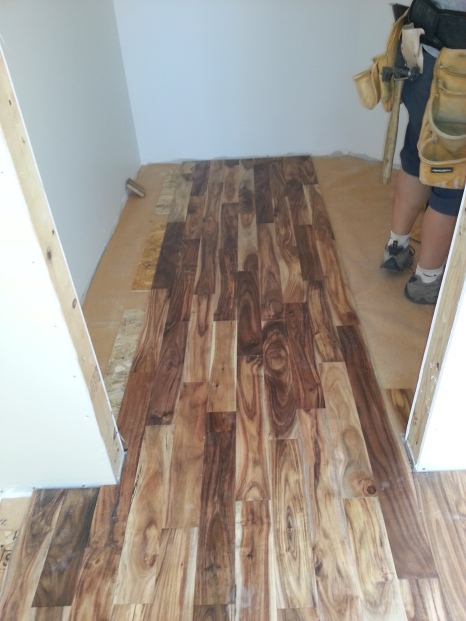 the hardwood going into the closet