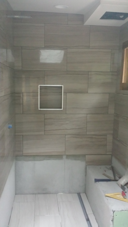 the shower still needing work but looking fantastic