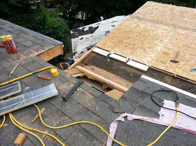 the section of roof we had to cut out