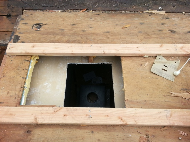 the hole- with 2x4s for added support