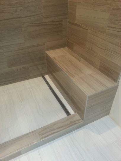 the shower bench and floor
