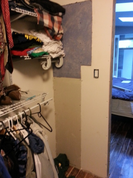 where the HVAC guys had to open up to install our new unit (the closet)