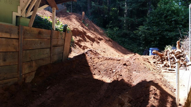 that was our driveway during excavation- it looks like a hill of dirt!