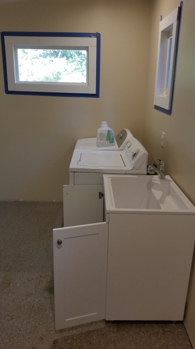 the washer and dryer back in with the sink hooked up