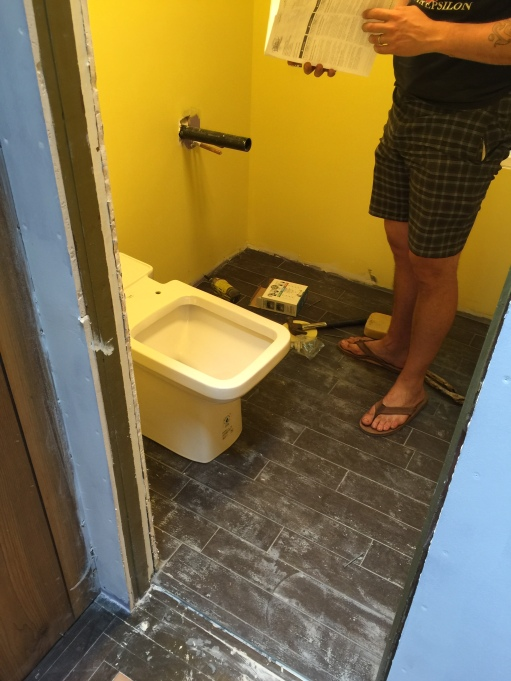 toilet getting installed